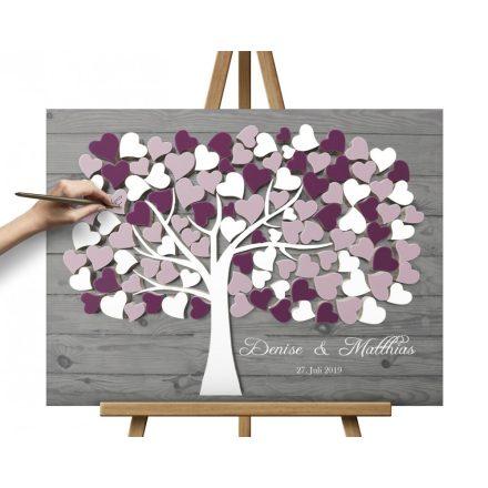 Hochzeitsbaum, Wedding tree, Gästebuch Beere/Rosa-Weiss