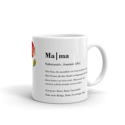 Geschenk für Mama, Tasse mit Mama Definition, Text Schrift