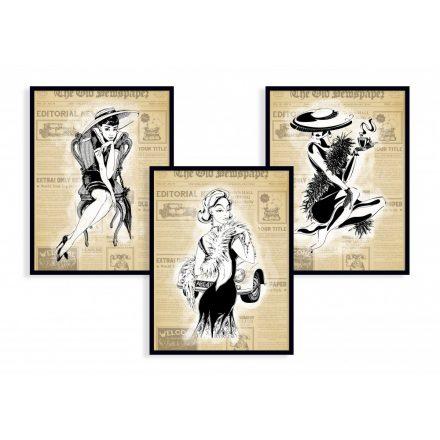 3er Set Frau Vintage, Art-Deco Kunstdruck