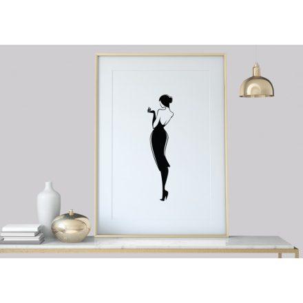 Frau Vintage, Schwarz-Weiß Art-Deco Kunstdruck