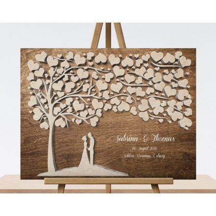Gästebuch Hochzeitsgeschenk mit 3D Holzeffekt