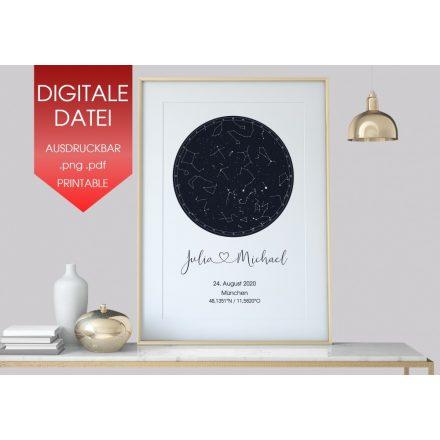 Hochzeitsgeschenk Personalisierte Sternenkarte als digitale Datei
